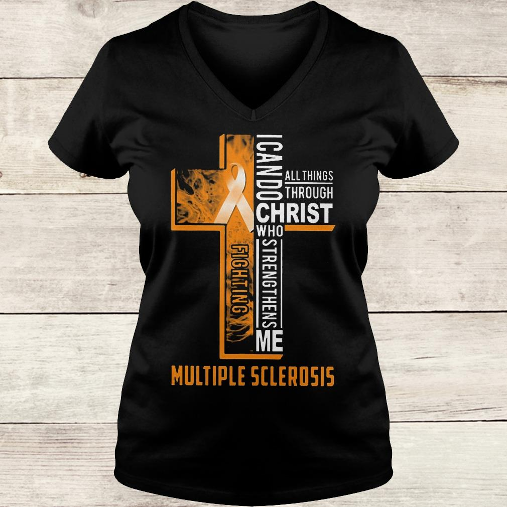 Best Price Fighting multiple sclerosis i can do all things through Christ who Shirt Ladies V-Neck