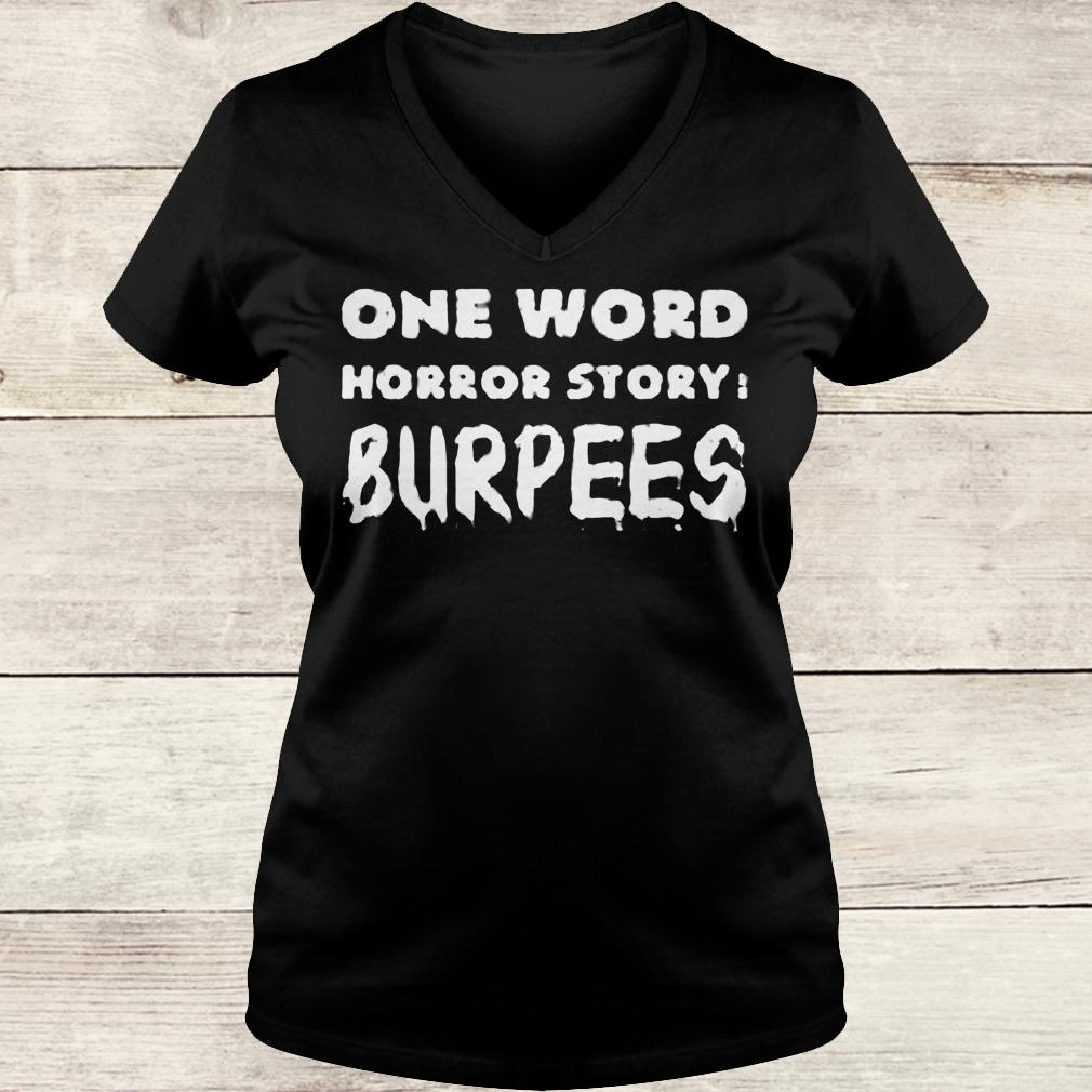 Best Price One word horror story Burpees shirt Ladies V-Neck