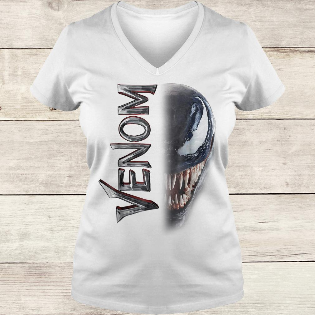 Marvel venom split down the middle Grin shirt Ladies V-Neck