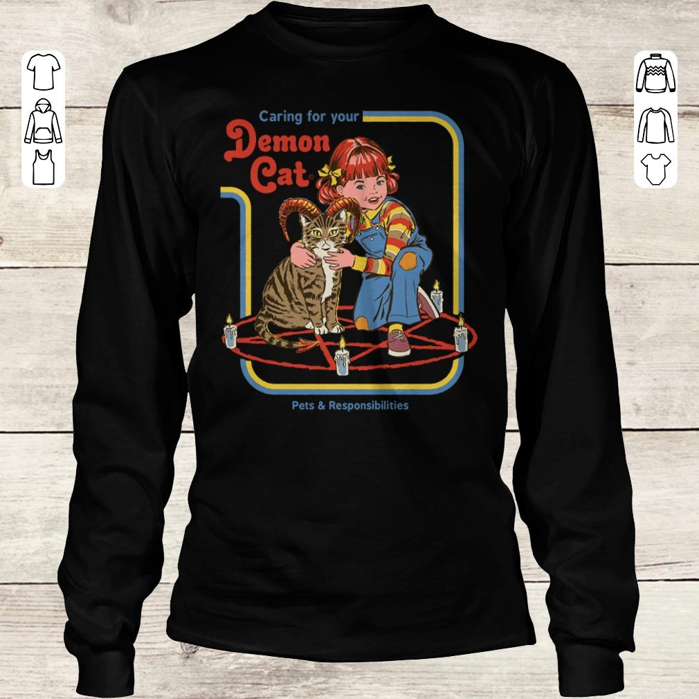 Awesome Pets Responsibilities Caring For Your Demon Cat Shirt Sweater Longsleeve Tee Unisex.jpg