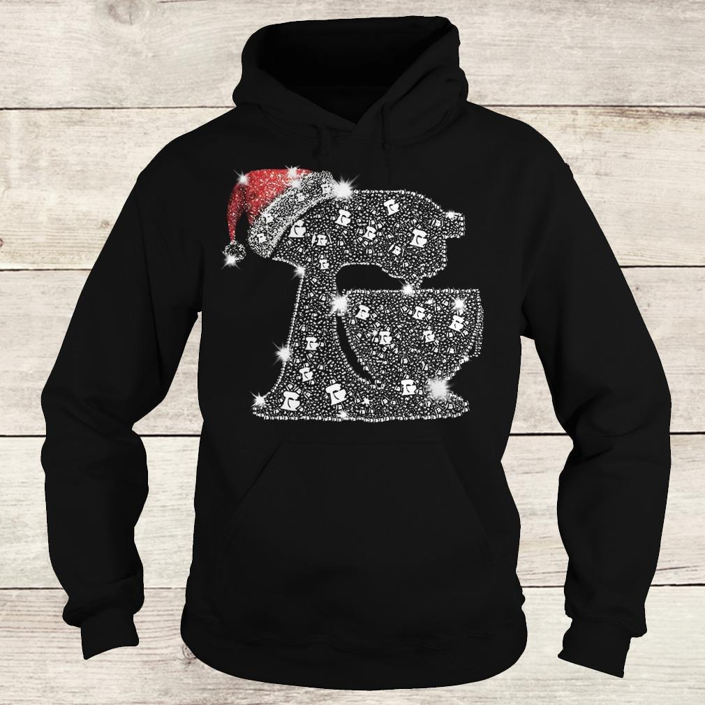 Awesome Snoopy Baking Glitter and rhinestones with santa hat shirt