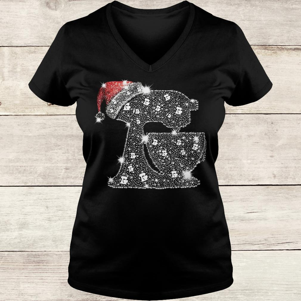 Awesome Snoopy Baking Glitter and rhinestones with santa hat shirt Ladies V-Neck
