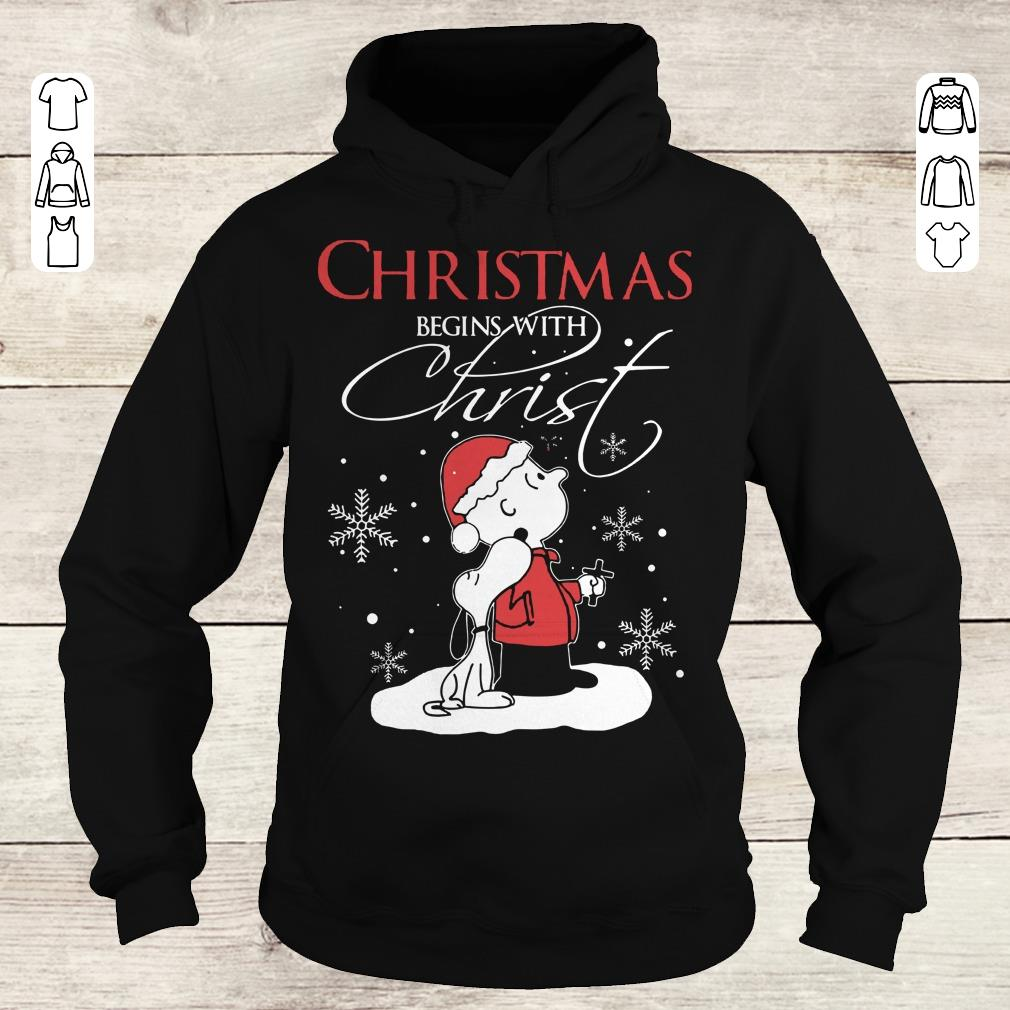 Funny Snoopy and Charlie Brown christmas begins with christ shirt Hoodie