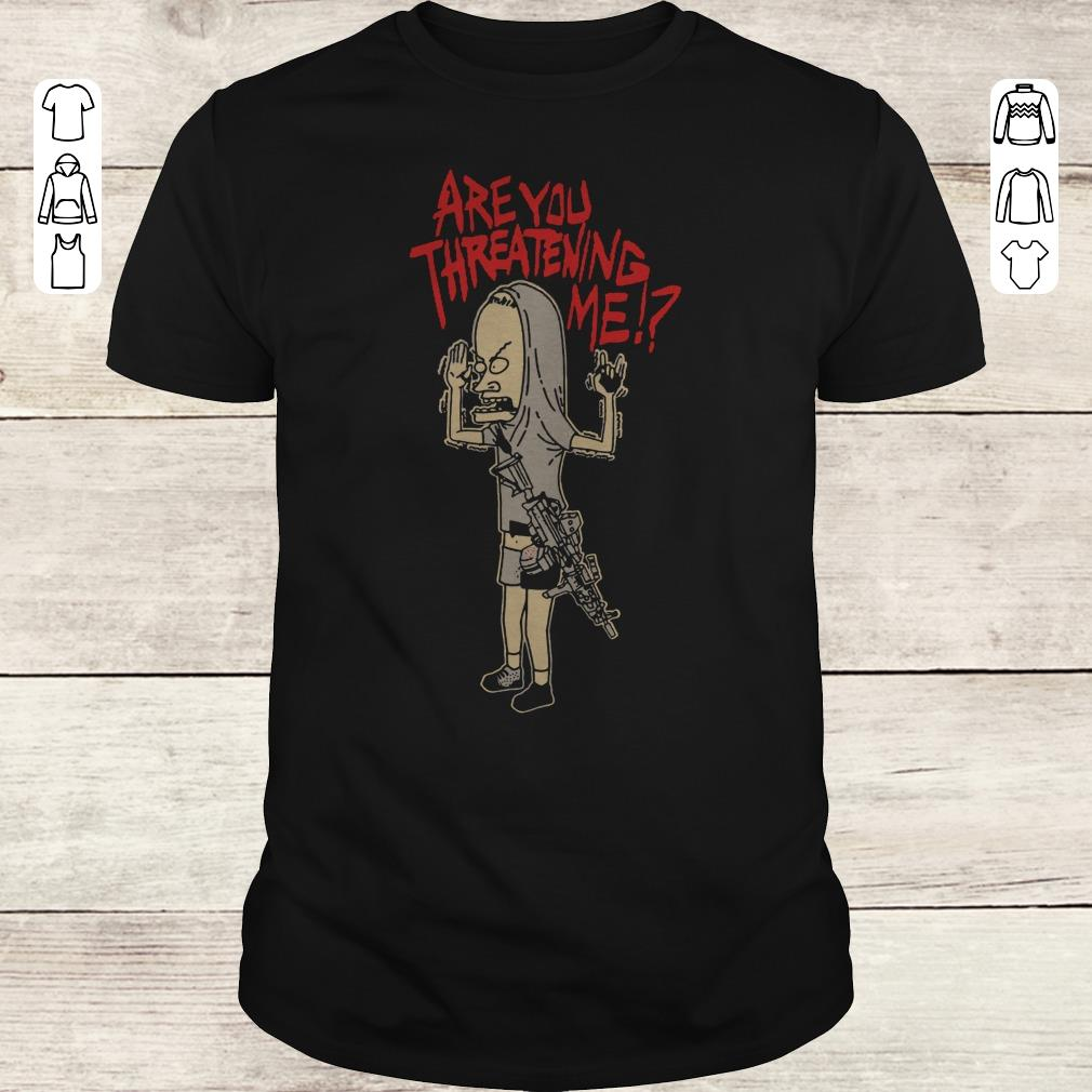 Nice Cornholio Beavis and ButtHead Are you threatening me shirt Classic Guys / Unisex Tee