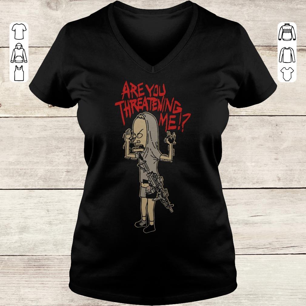 Nice Cornholio Beavis and ButtHead Are you threatening me shirt Ladies V-Neck