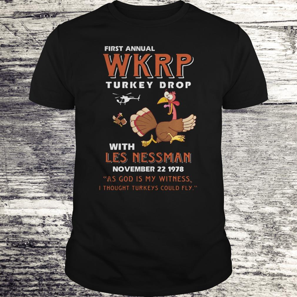 Nice First Annual WKRP Turkey drop with les nessman shirt Classic Guys / Unisex Tee