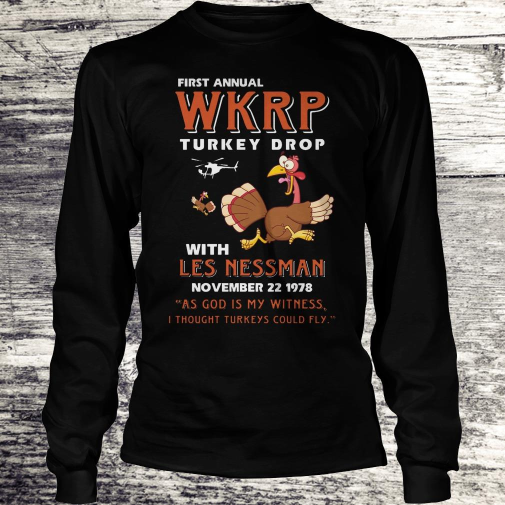 Nice First Annual WKRP Turkey drop with les nessman shirt