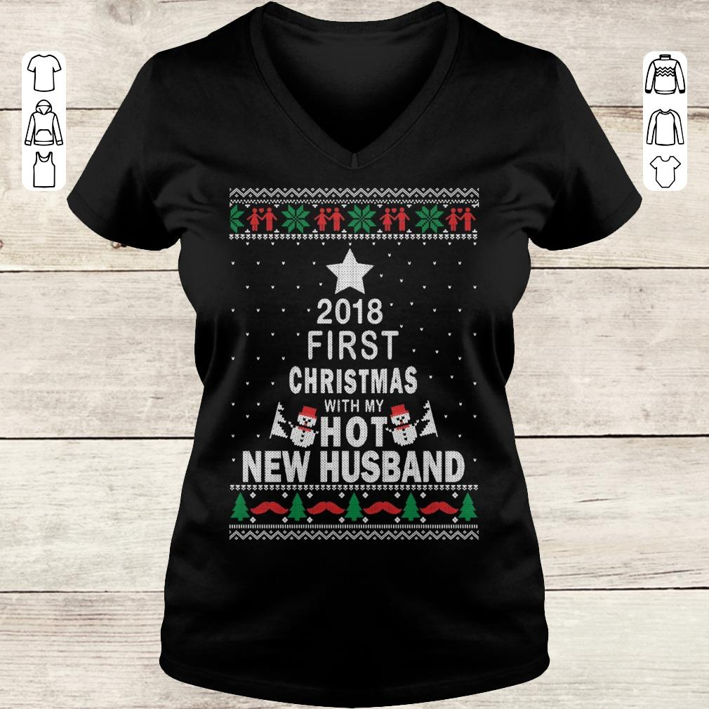 Official 2018 first christmas with my hot new husband shirt sweatshirt Ladies V-Neck