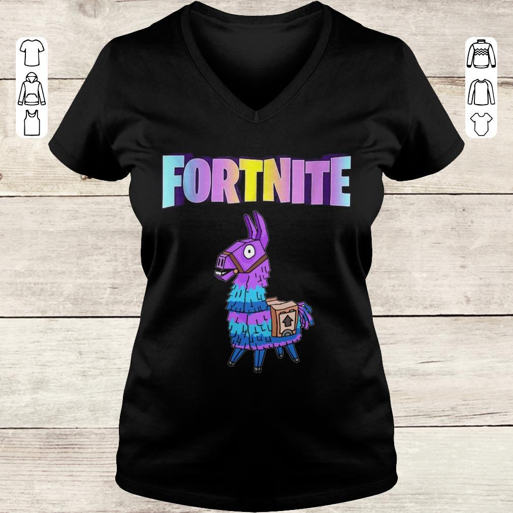 Premium Fortnite Unicorn Llama shirt Ladies V-Neck