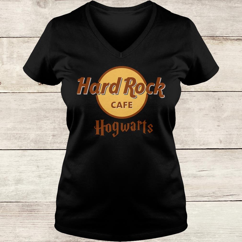 The best Harry Potter hard Rock cafe Hogwarts shirt Ladies V-Neck