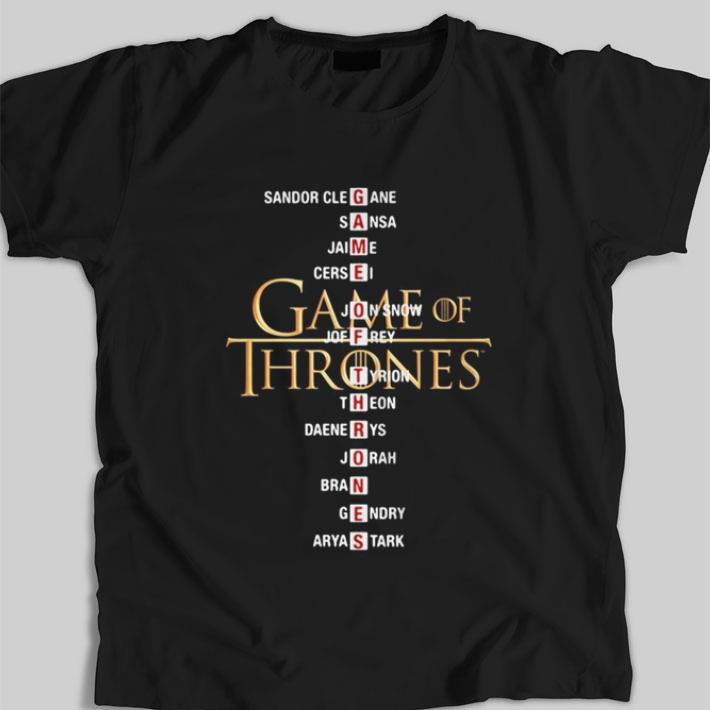 Nice Game of Thrones list name characters shirt