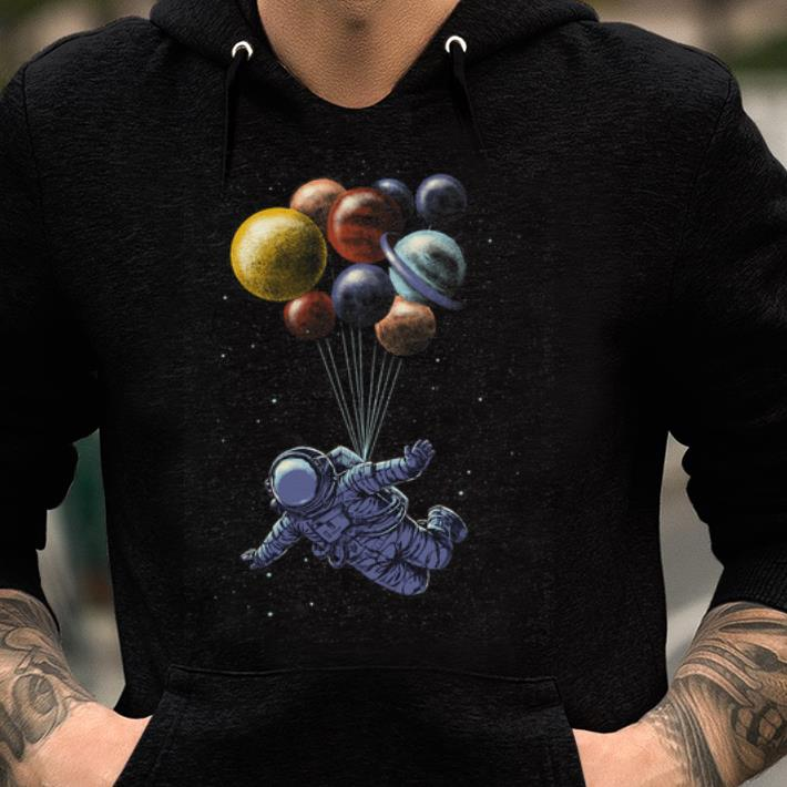 Original Space Travel Tri-blend Astronaut Fly By Planet Balloons shirt