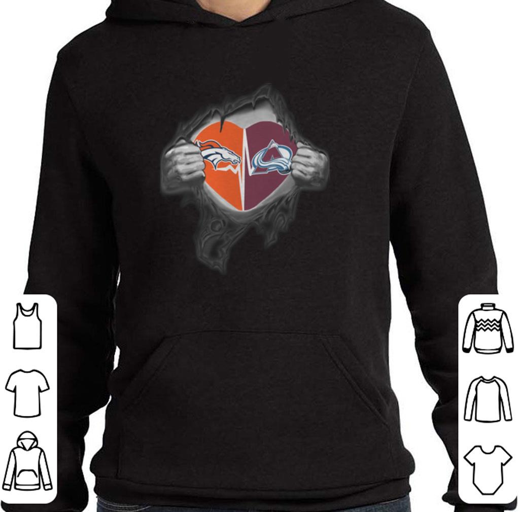 Original Denver Broncos Colorado Avalanche inside my heart shirt