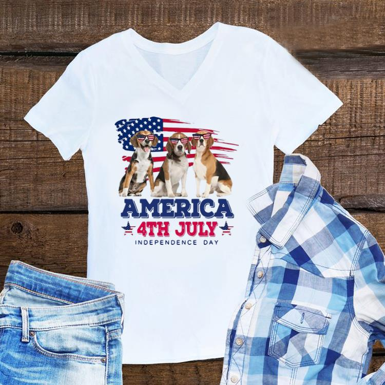 4th July Independence Day Beagles America Flag shirt