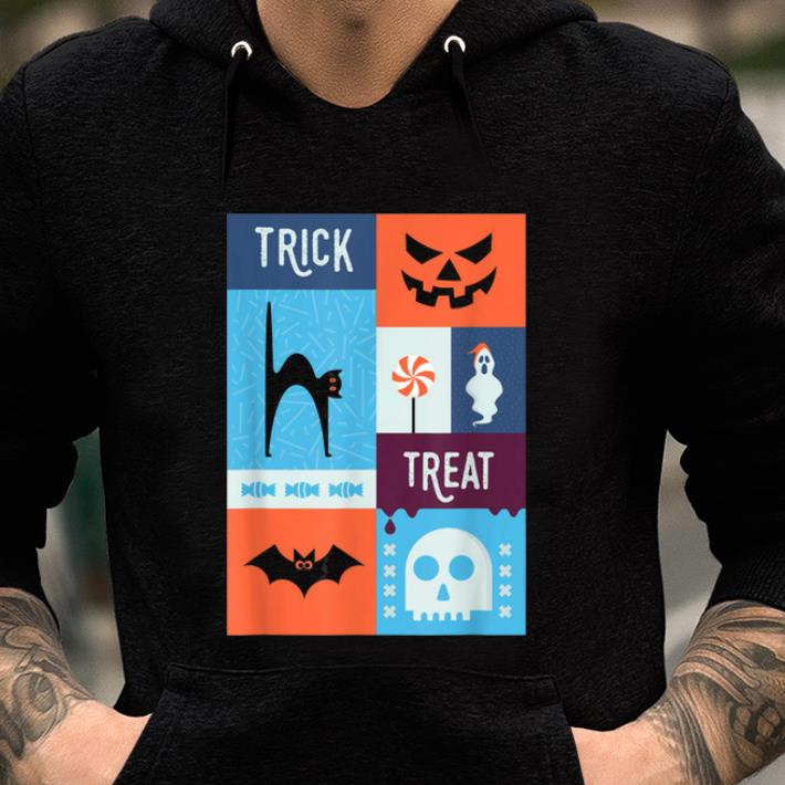 Awesome Spooky Halloween Trick Or Treat Cat & Bat shirt