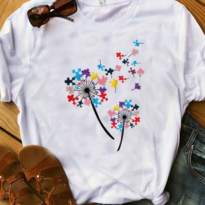 Dandelion Flower with Puzzles Women T-Shirt Autism Awareness Tee