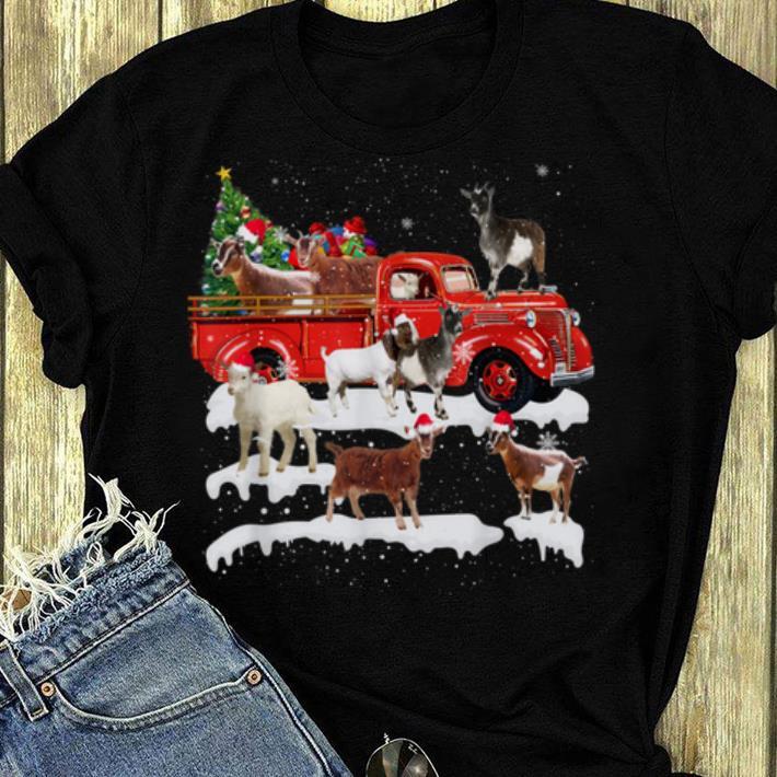 Pretty Goat Riding Red Truck Xmas Merry Christmas Gifts shirt