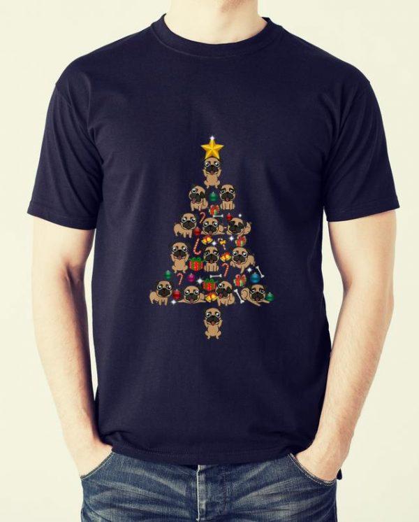 Pretty Pug Christmas Tree Funny xmas Pug shirt