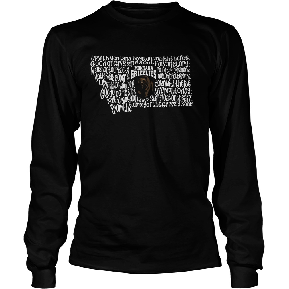 Montana Grizzlies Fight Song Inside State Map Longsleeve