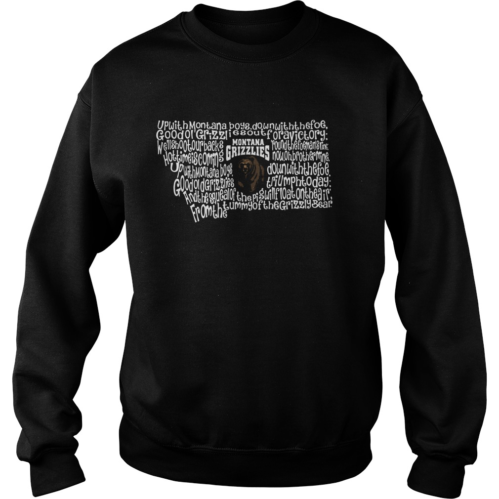 Montana Grizzlies Fight Song Inside State Map Sweater