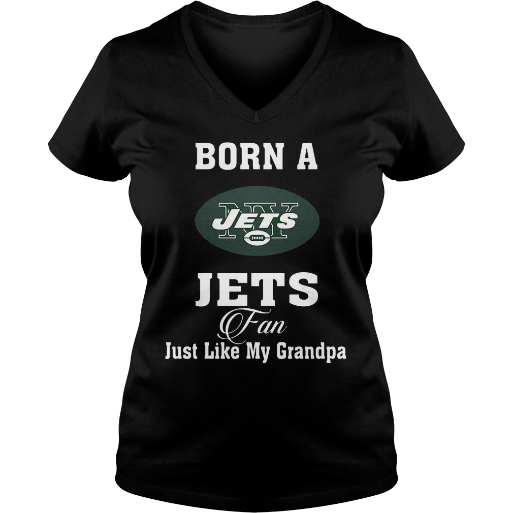 Born A Jets Fan Just Like My Grandpa Ladies Vneck