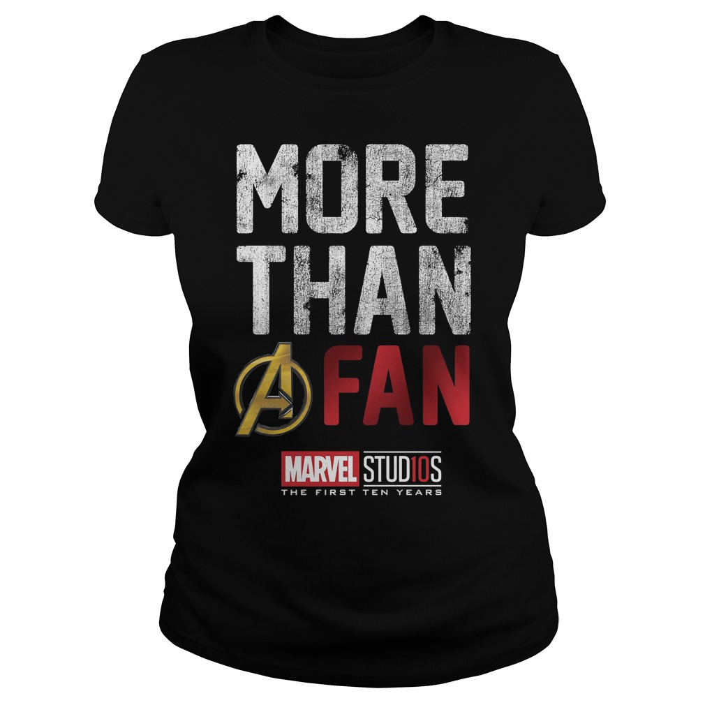 Marvel Studios Ten Years More Than A Fan Graphic Ladies Tee