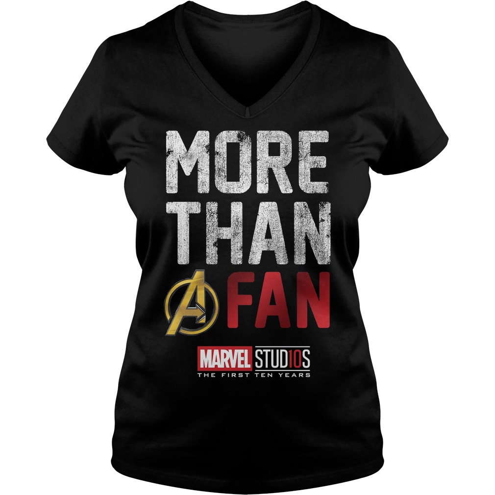 Marvel Studios Ten Years More Than A Fan Graphic Ladies Vneck