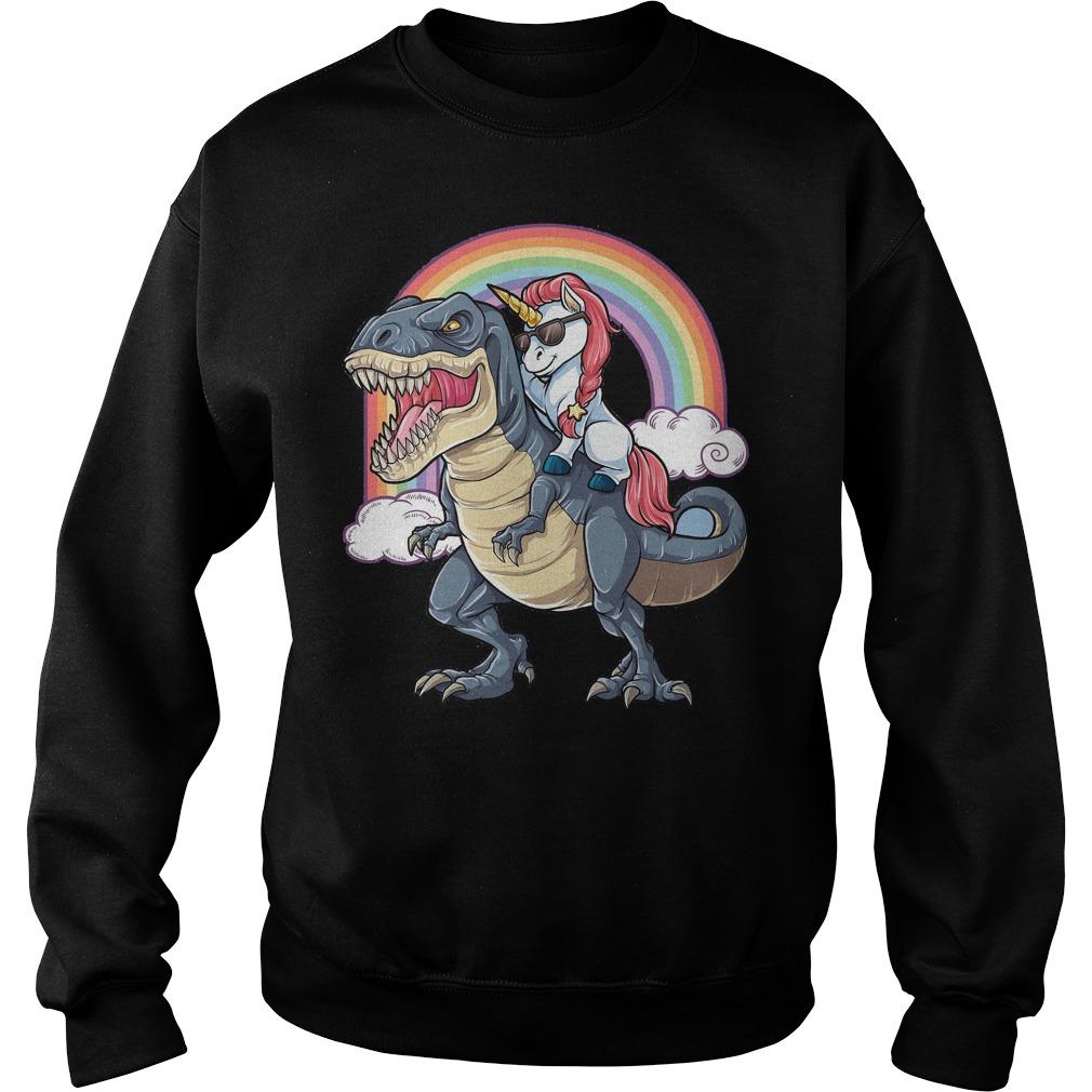 Unicorn Riding Dinosaur T Rex Sweater