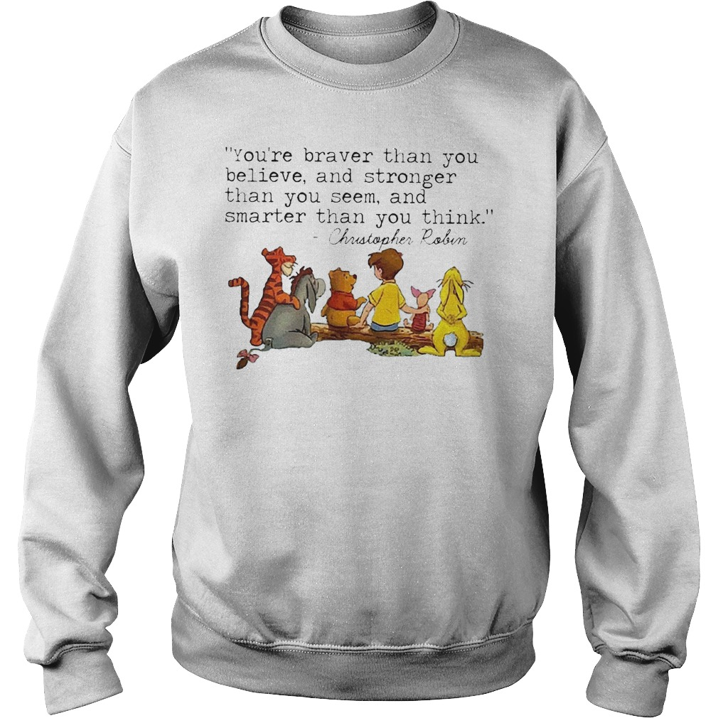 Disney Winnie The Pooh And Friend You're Braver Than You Believe Stronger Smarter Christopher Robin Sweater