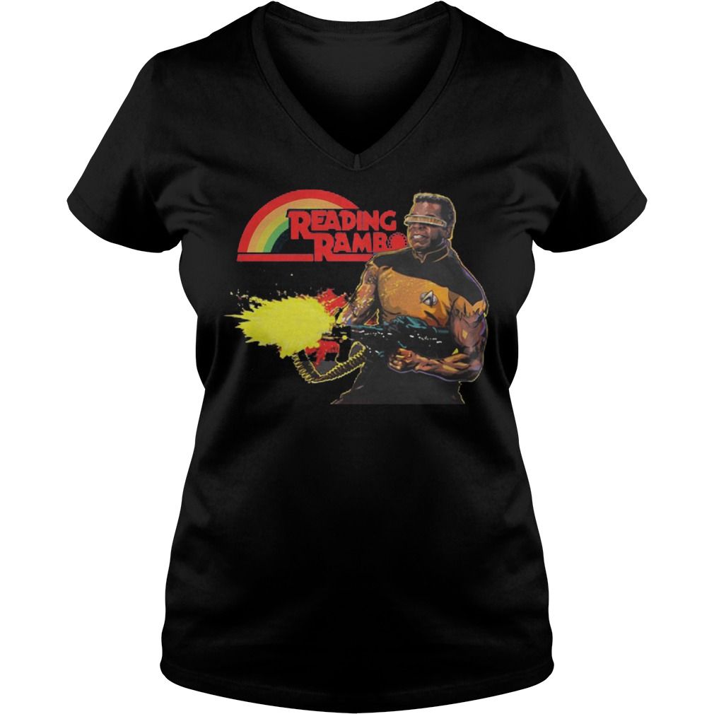 Geordi La Forge Reading Rainbow Ladie Vneck
