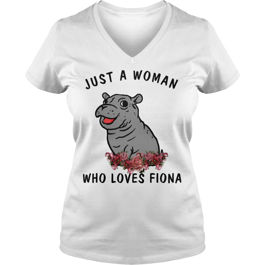Hippo Just A Woman Who Loves Fiona V Neck