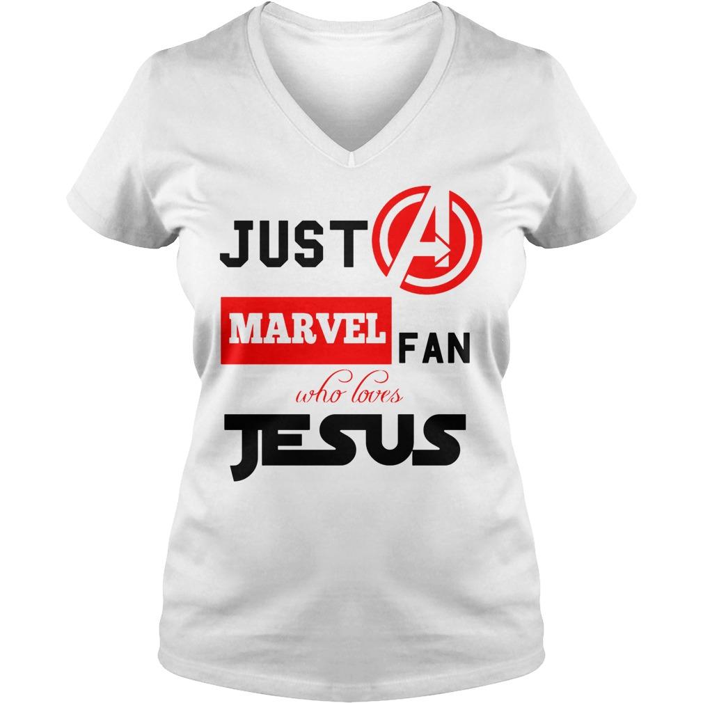 Just A Marvel Fan Who Loves Jesus V Neck