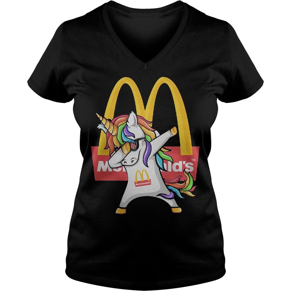 Unicorn Dabbing Mcdonald's V Neck
