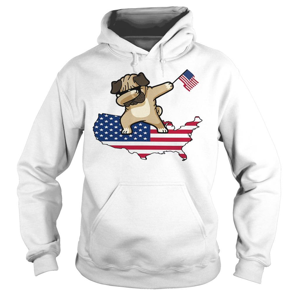 Dabbing Dog Us Flag Hoodie