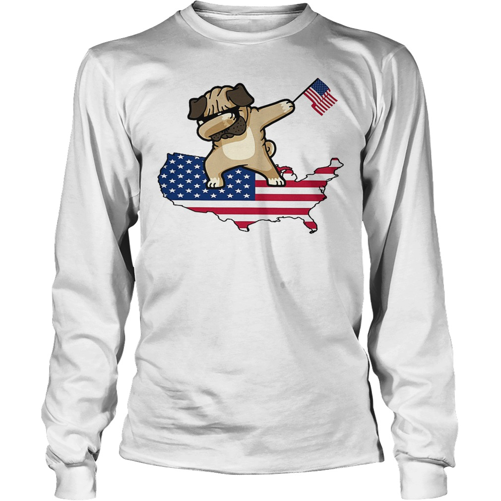 Dabbing Dog Us Flag Longsleeve