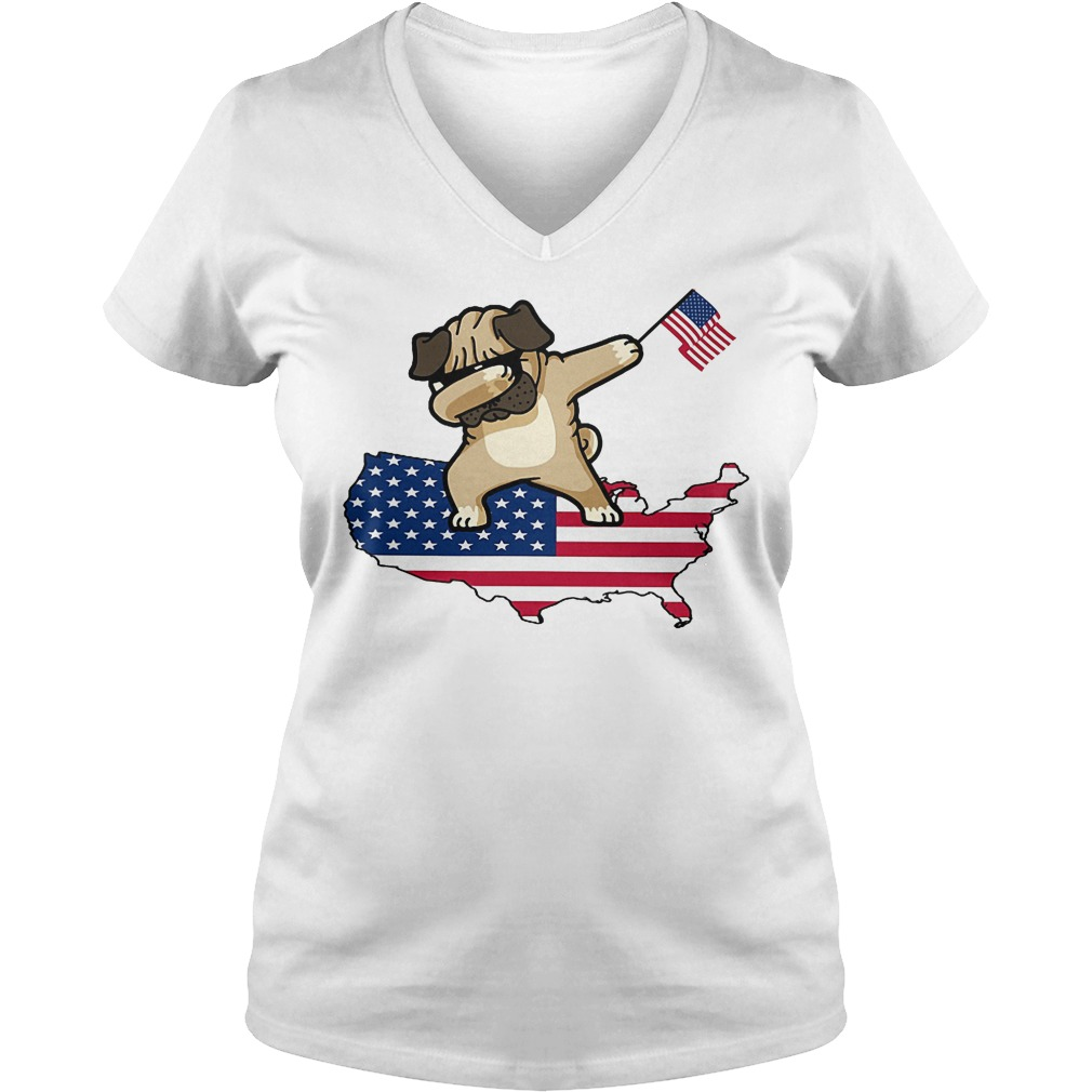 Dabbing Dog Us Flag V Neck