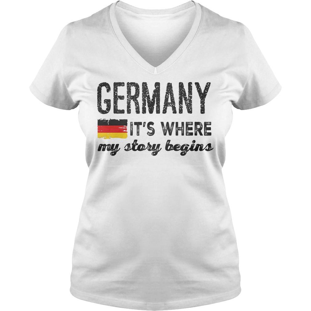 Germany Flag It's Where My Story Begins V Neck