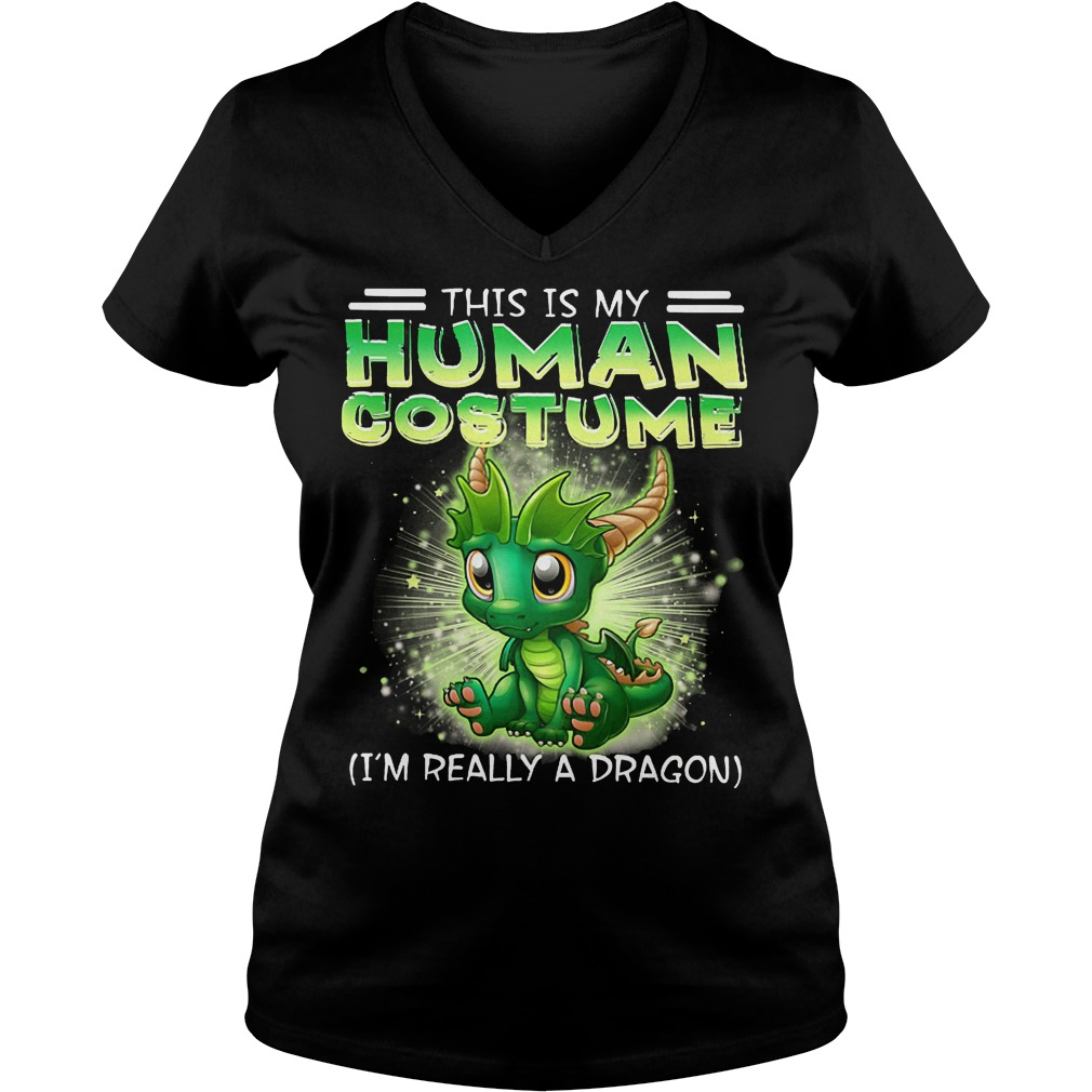 This Is My Human Costume Dragon V Neck