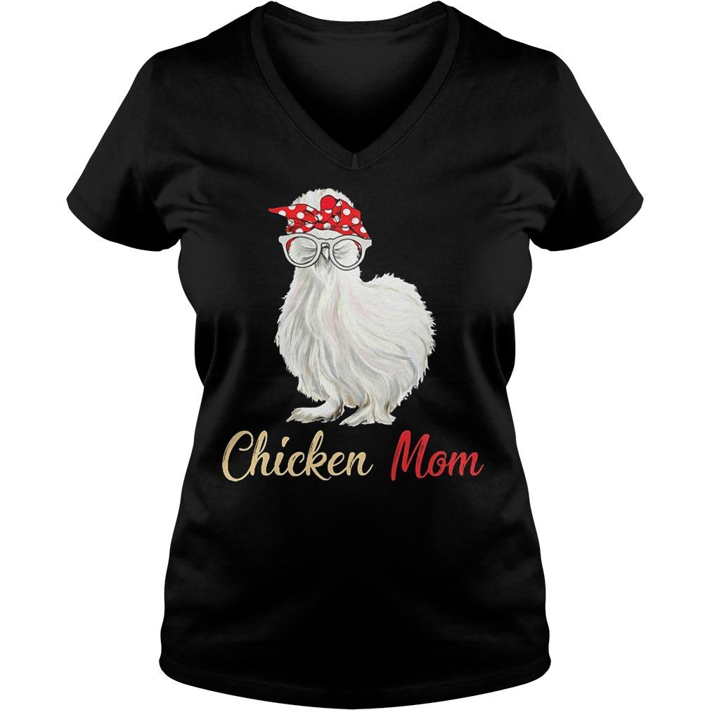 White Chicken Mom V Neck
