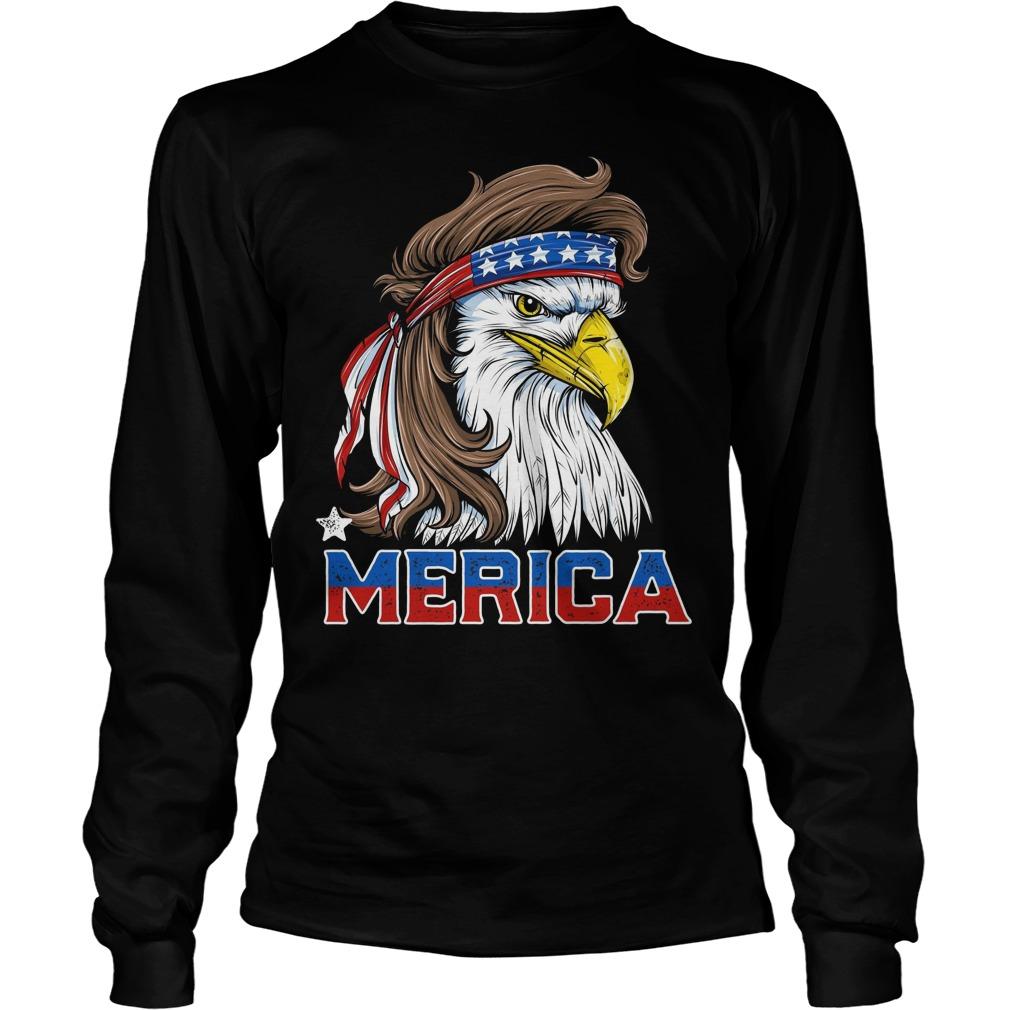 american Flag Merica Usa Eagle Mullet T Shirt 4th Of July Longsleeve
