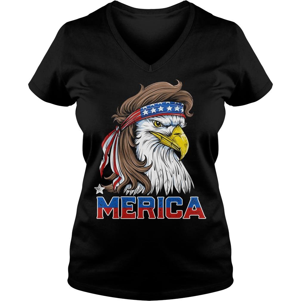 american Flag Merica Usa Eagle Mullet T Shirt 4th Of July V Neck