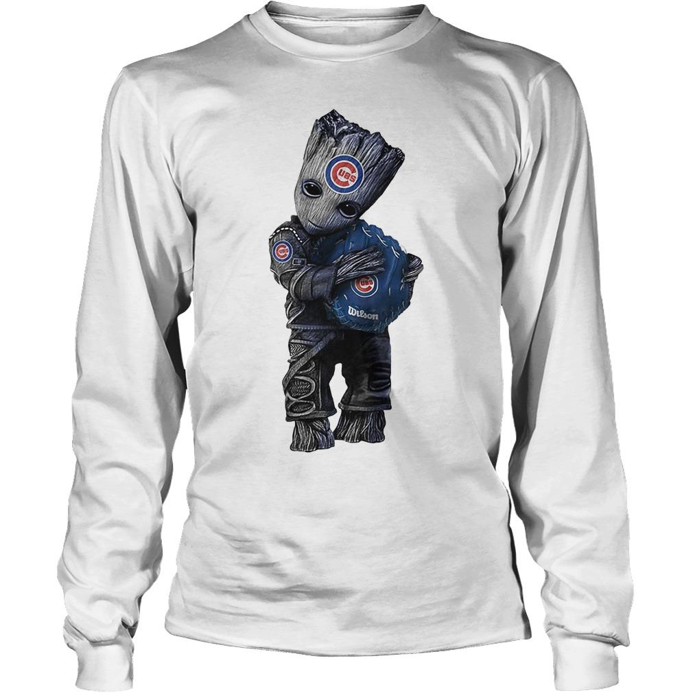 Baby Groot Hug Chicago Cubs Longsleeve