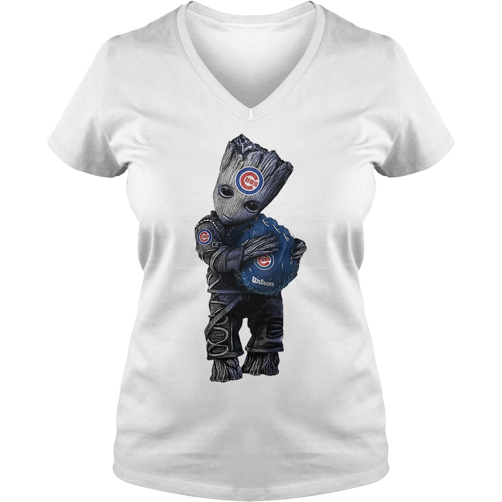 Baby Groot Hug Chicago Cubs V Neck