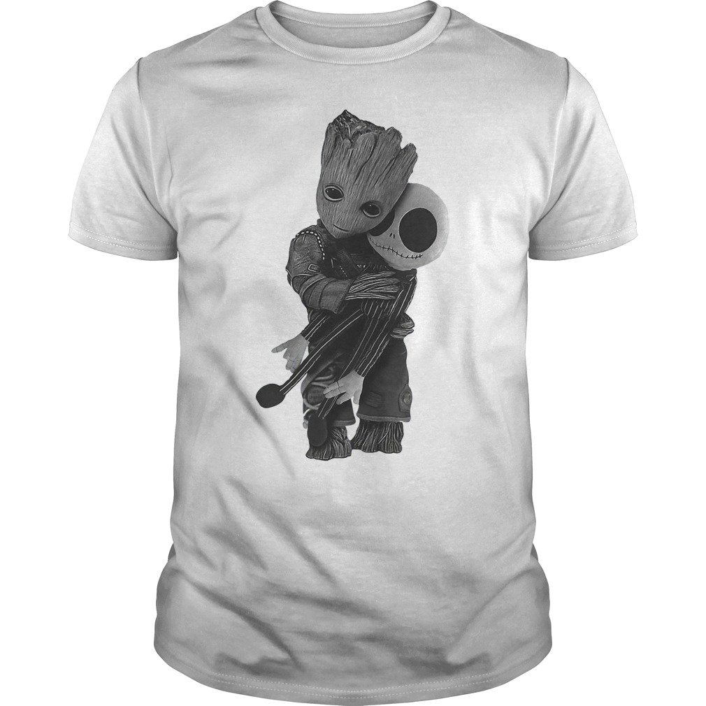 Baby Groot Hugs Jack Skellington T Shirt