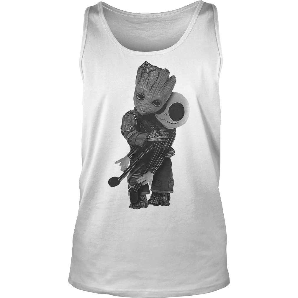 Baby Groot Hugs Jack Skellington Tanktop