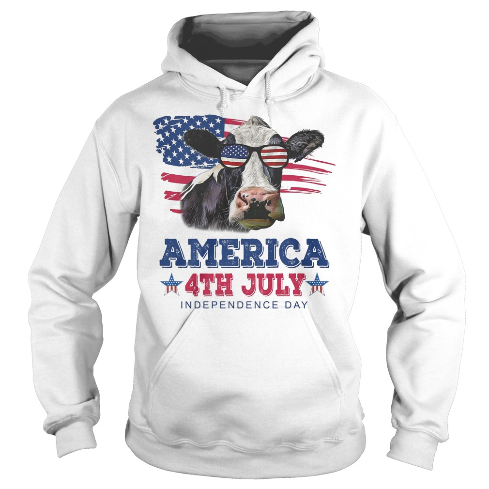 Cow America 4th July Independence Day Hoodie