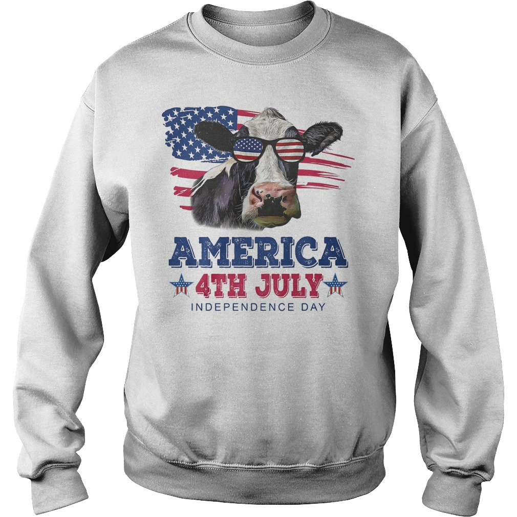 Cow America 4th July Independence Day Sweater