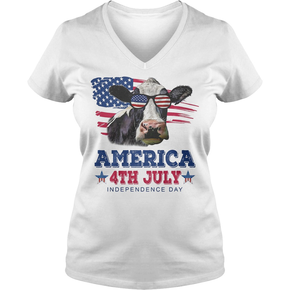 Cow America 4th July Independence Day V Neck