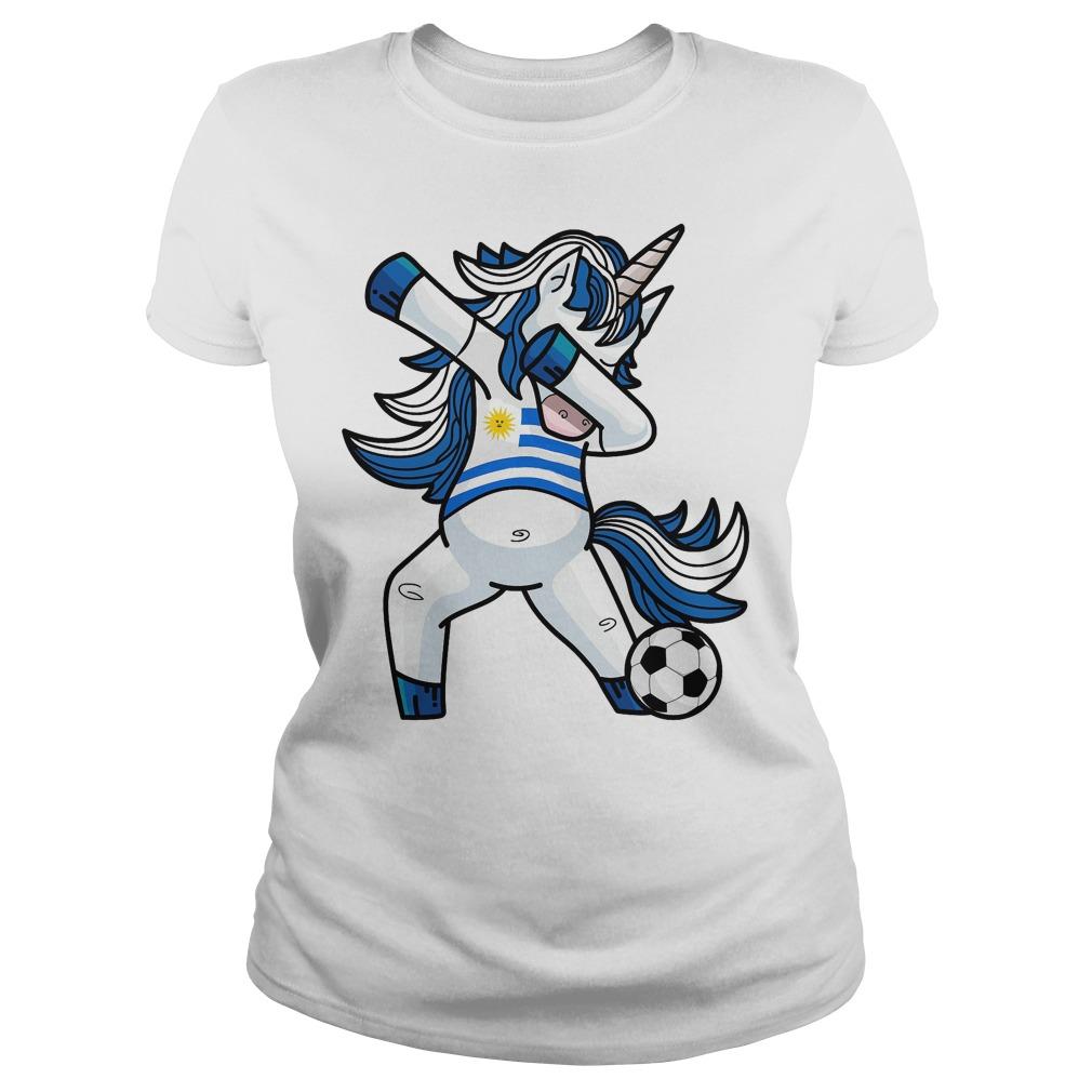 Dabbing Soccer Unicorn Uruguay Ladies