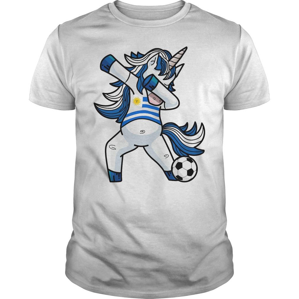 Dabbing Soccer Unicorn Uruguay T Shirt